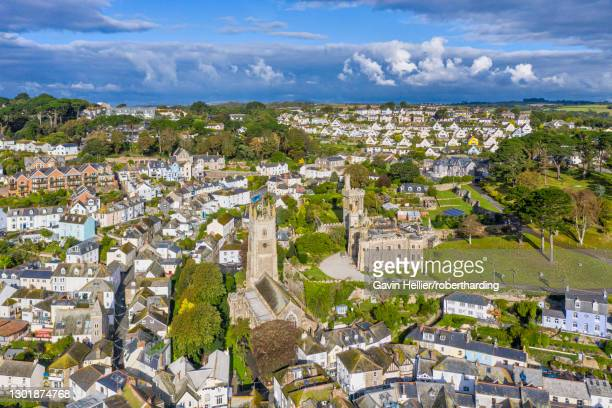 aerial view over fowey, cornwall, england, united kingdom, europe - gavin hellier stock pictures, royalty-free photos & images