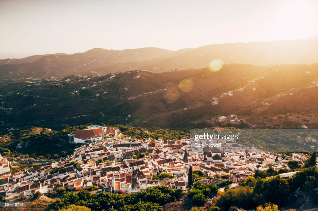 Aerial view over Frigiliana hill town at sunset : Stock Photo