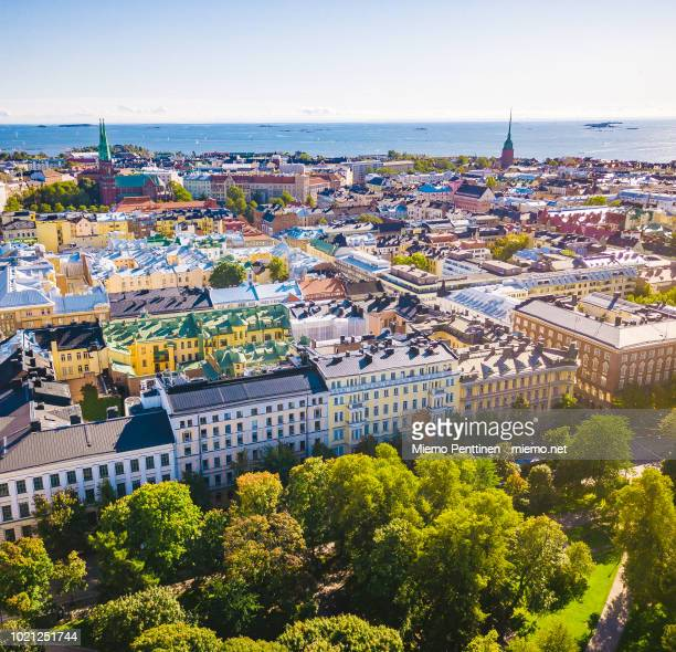 aerial view over helsinki on a sunny summer day - helsinki stock pictures, royalty-free photos & images