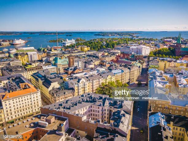 aerial view over helsinki on a sunny summer day - helsinki stockfoto's en -beelden