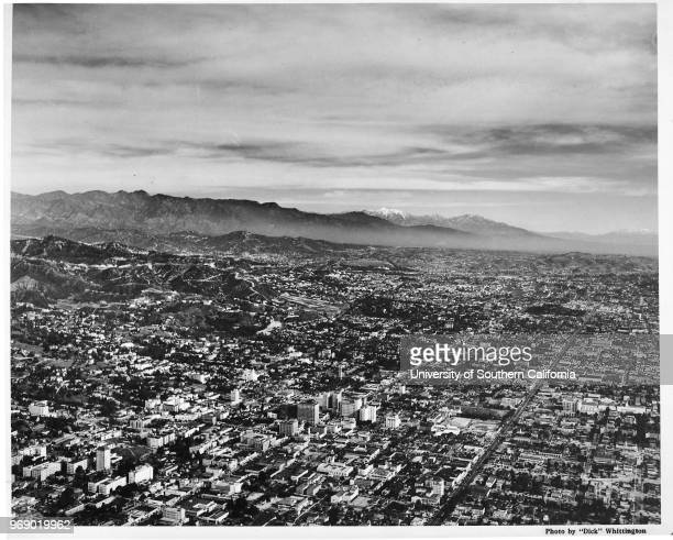 Aerial view over Hollywood Boulevard and Vine Street looking east towards Barnsdall Park in Los Feliz Los Angeles California early to mid twentieth...