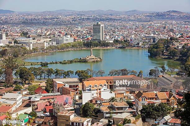 Aerial view over Lake Anosy with Monument aux Morts / Monument to the Dead in Central Antananarivo capital city of Madagascar Southeast Africa