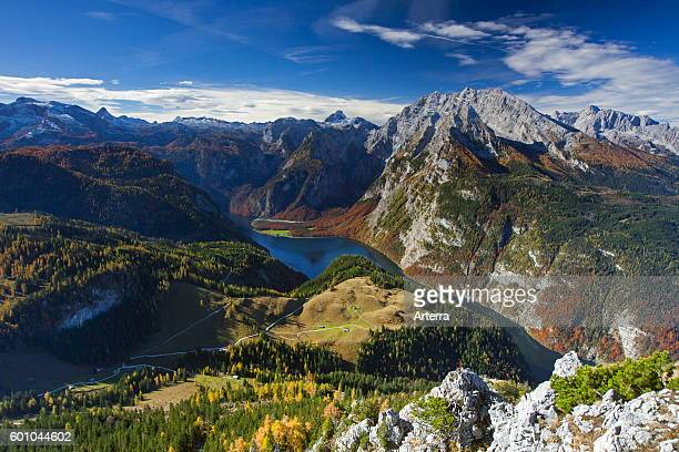 Aerial view over lake Konigssee and the Watzmann massif from the mountain Jenner in autumn Berchtesgaden National Park Bavarian Alps Bavaria Germany