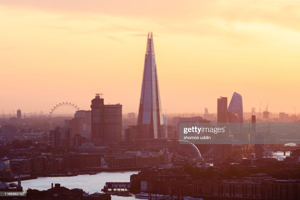 Aerial view over London city against sky at sunset : Stock Photo