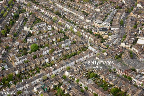 Aerial view over London terraced housing