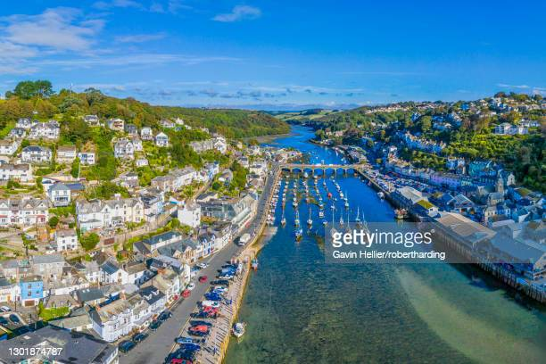 aerial view over looe, cornish fishing town, cornwall, england, united kingdom, europe - gavin hellier stock pictures, royalty-free photos & images