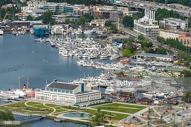 Aerial view over marina harbor Lake Union Seattle USA