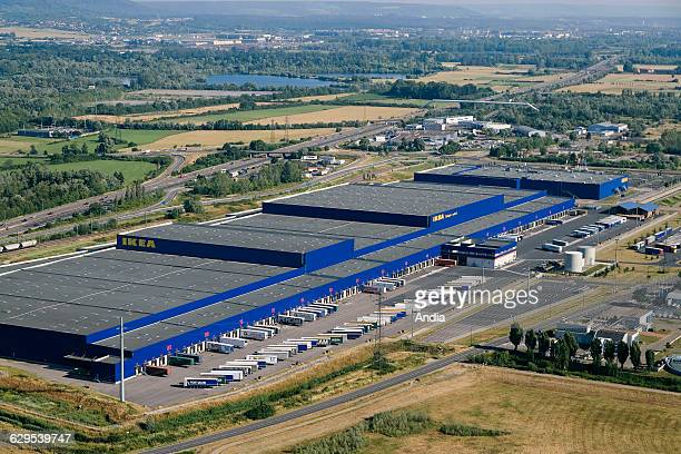 Aerial view over Metz in the Moselle department Logistic platform and Ikea department store