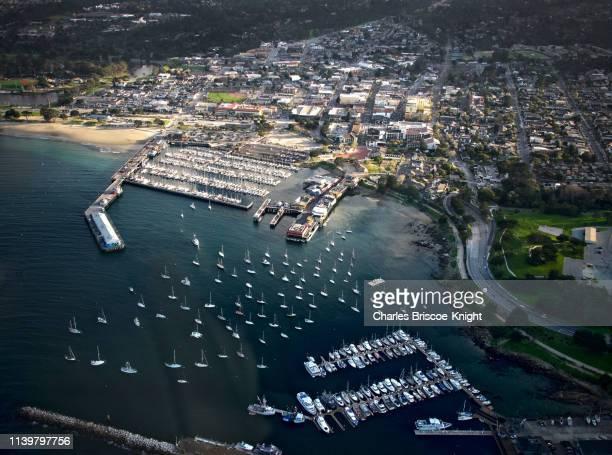 aerial view over monterey, california, usa - city of monterey california stock pictures, royalty-free photos & images