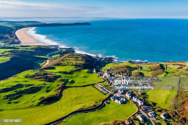 aerial view over mortehoe and woolacombe bay, north devon, england, united kingdom, europe - gavin hellier stock pictures, royalty-free photos & images