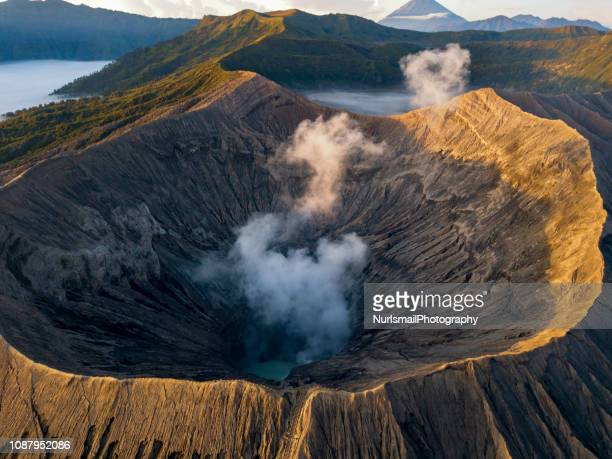 aerial view over mt bromo, bromo tengger semeru national park in east java, indonesia - tengger stock pictures, royalty-free photos & images