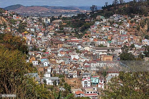 Aerial view over nineteenthcentury trano gasy houses in the historic haute ville in Antananarivo capital city of Madagascar Southeast Africa