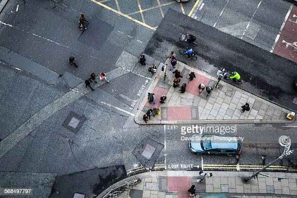 Aerial view over O'Connell bridge, Dublin