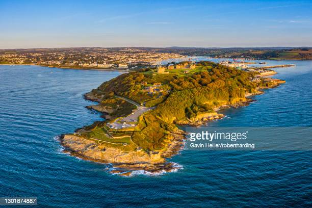 aerial view over pendennis castle and falmouth, cornwall, england, united kingdom, europe - ファルマス ストックフォトと画像