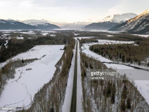 Aerial view over Portage Glacier Road in Alaska
