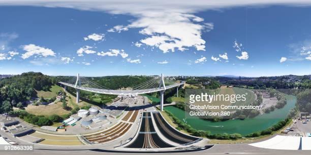 360° Aerial View over Poya Bridge in Fribourg, Switzerland