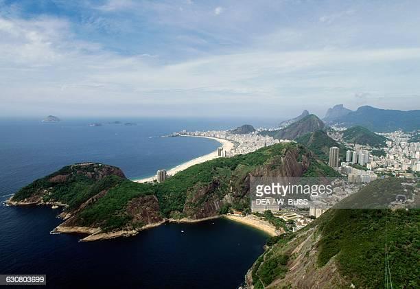 Aerial view over Praia Vermelha and Copacabana Rio de Janeiro Brazil