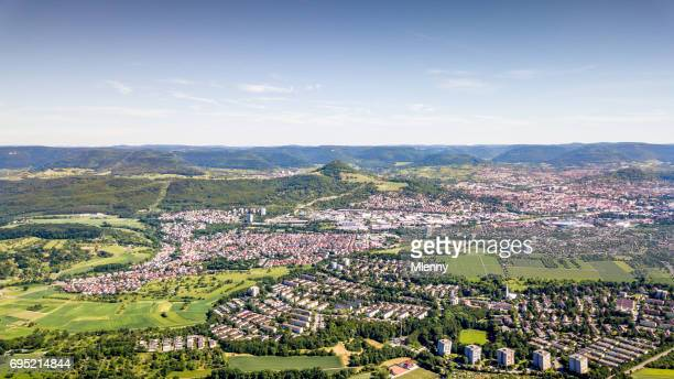 aerial view over reutlingen swabian alb germany - baden württemberg stock photos and pictures