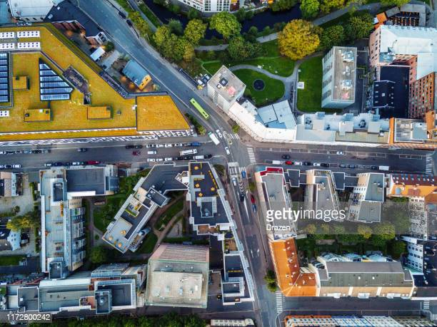 aerial view over scandinavian city - norway stock pictures, royalty-free photos & images