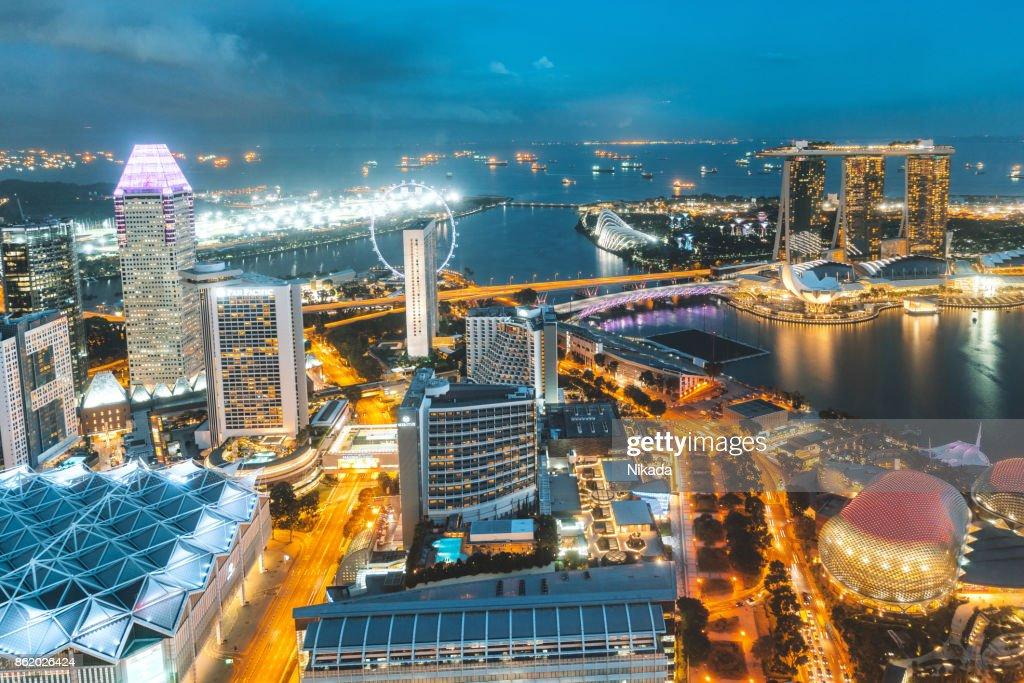 Vista aérea sobre a Cingapura : Foto de stock