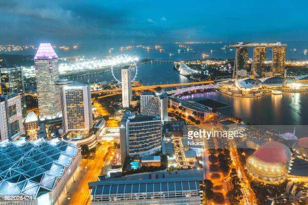 aerial view over singapore - national landmark stock pictures, royalty-free photos & images