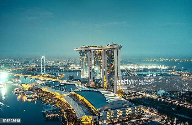 Aerial View Over Singapore  with Marina Bay Sands Hotel, Singapore