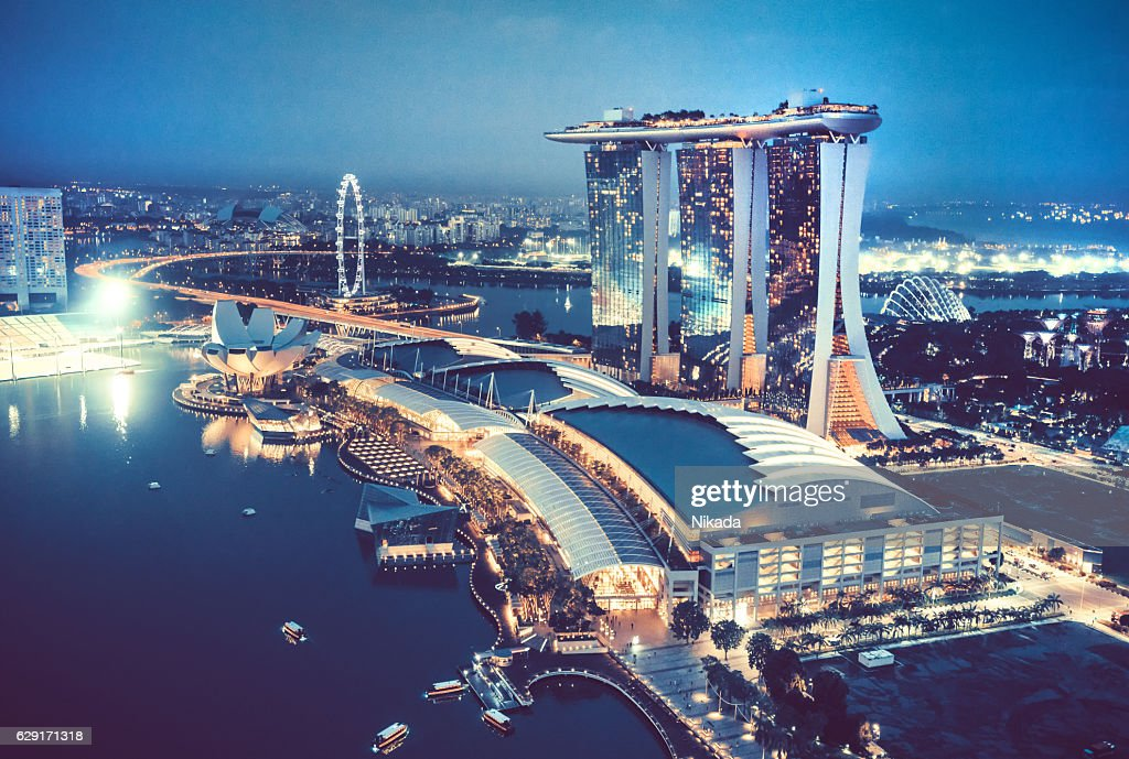 Aerial View Over Singapore  with Marina Bay Sands Hotel, Singapore : Stock Photo