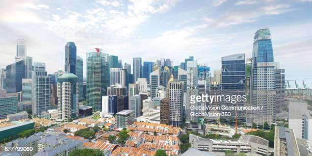 Aerial View over Singapore's Epic Urban Skyline