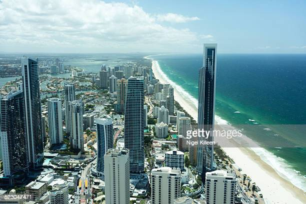Aerial view over Surfers Paradise coastline