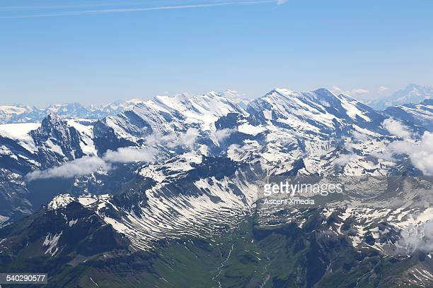 Aerial view over Swiss Alps, Bernese Oberland