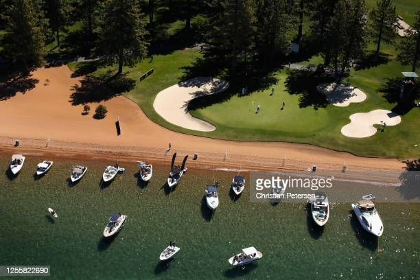 Aerial view over the 17th green at Edgewood Tahoe South course during the final round of the American Century Championship on July 12, 2020 in South...