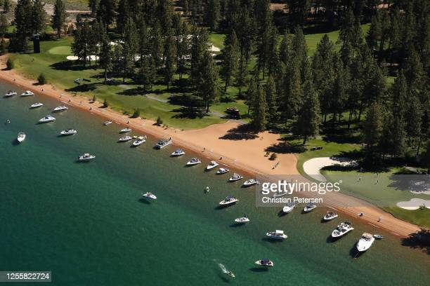 Aerial view over the 17th hole at Edgewood Tahoe South course during the final round of the American Century Championship on July 12, 2020 in South...