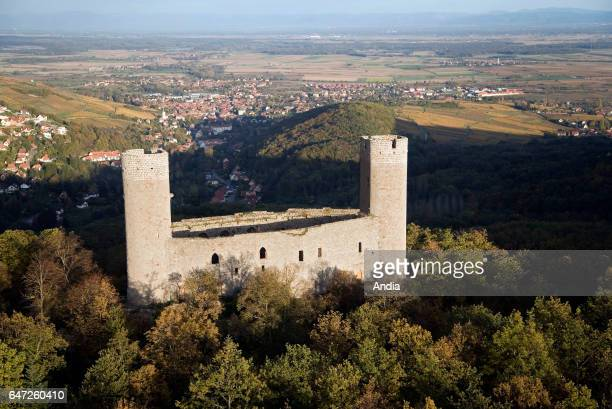 Aerial view over the Alsace region Chateau d'Andlau in the middle of the forest BasRhin department