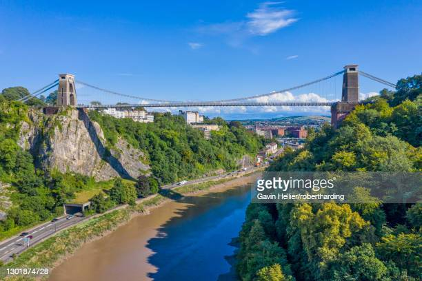aerial view over the avon gorge and clifton suspension bridge, bristol, england, united kingdom, europe - gavin hellier stock pictures, royalty-free photos & images
