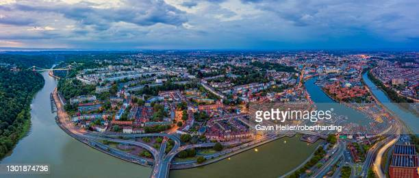 aerial view over the avon gorge, clifton, hotwells and city centre, bristol, england, united kingdom, europe - gavin hellier stock pictures, royalty-free photos & images