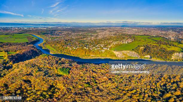 aerial view over the avon gorge, the downs and city centre, bristol, england, united kingdom, europe - gavin hellier stock pictures, royalty-free photos & images