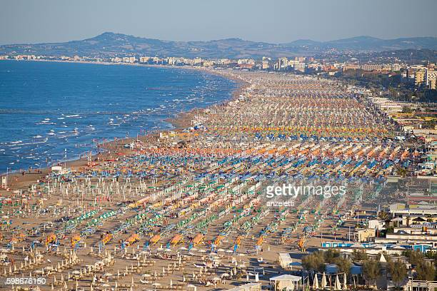 Aerial view over the beach of Rimini