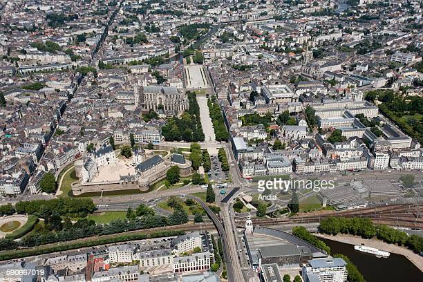 Aerial view over the city centre of Nantes the district of the caslte the building called Tour Lu and the factory Lu the Castle of the Dukes of...