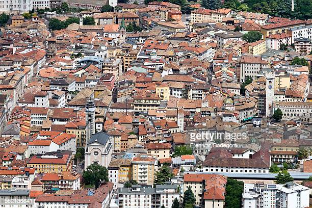 Aerial view over the city centre of Trento