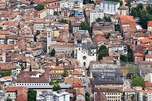 Aerial view over the city centre of Trento
