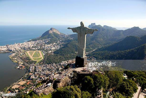 Aerial view over the city of Rio de Janeiro Copacabana Beach and its bay in Brazil City coast bay buildings waterfront