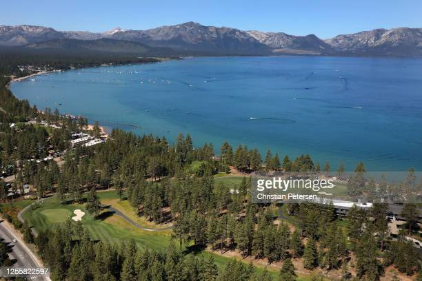 Aerial view over the eighth and ninth holes at Edgewood Tahoe South course during the final round of the American Century Championship on July 12,...