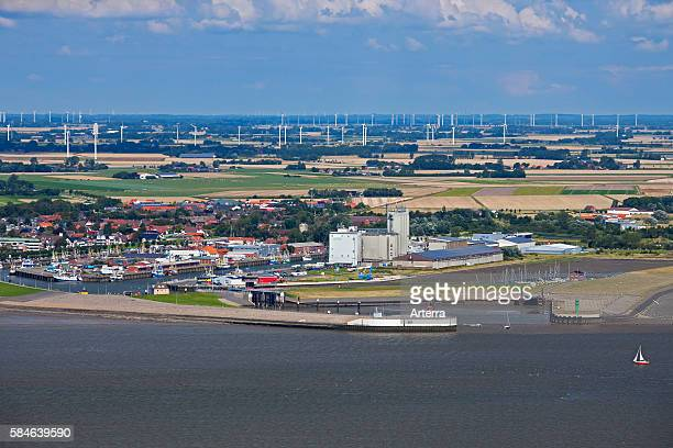 Aerial view over the harbour of Buesum along the North Sea Dithmarschen SchleswigHolstein Germany