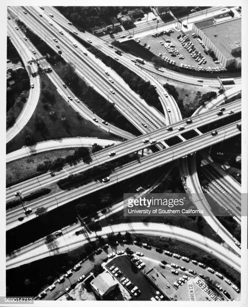 Aerial view over the junction of the Harbor-Pasadena Freeway and the Hollywood Freeway in Downtown Los Angeles, Los Angeles, California, early to mid...