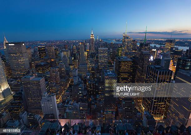Aerial view over the Midtown Manhattan skyline