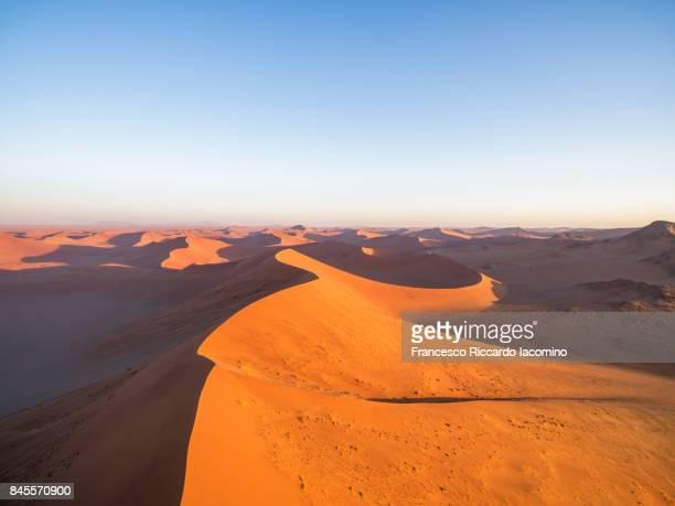 Aerial view over the Namib desert, Sossusvlei sand dunes, Namibia, Africa