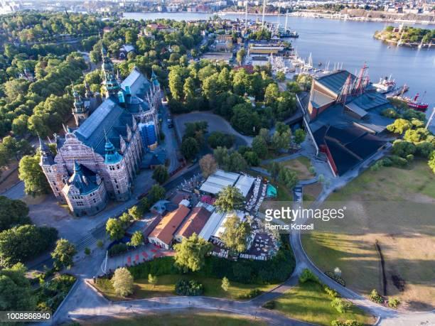 Flygfoto över Nordiska museet i Stockholm