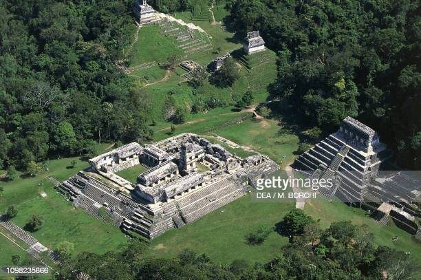 Aerial view over the Palace and the Temple of the Inscriptions archaeological site of Palenque Chiapas Mexico Mayan civilization 7th century AD