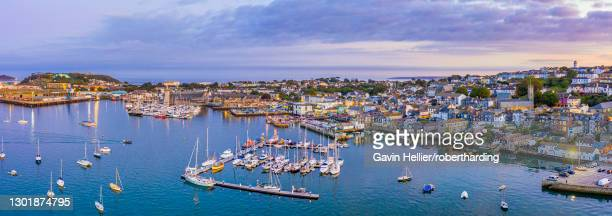 aerial view over the penryn river and falmouth, cornwall, england, united kingdom, europe - gavin hellier stock pictures, royalty-free photos & images