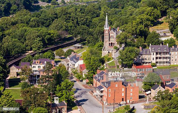 aerial view over the restored historic town and national park of harpers ferry in west virginia, usa - protohistory_of_west_virginia stock pictures, royalty-free photos & images
